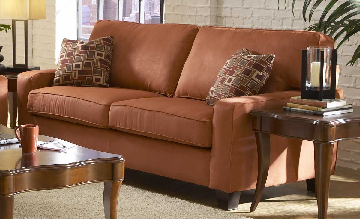 Newbury Microfiber Sofa in Coral Red-Homelegance