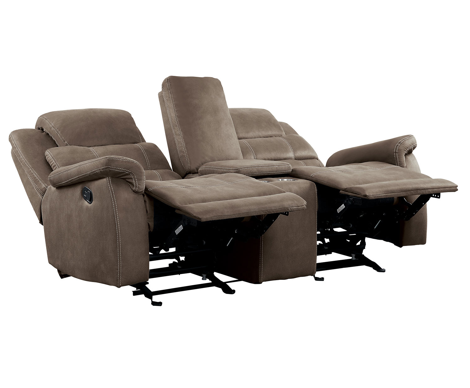Homelegance Shola Power Double Reclining Love Seat with Center Console and Power Headrests - Brown