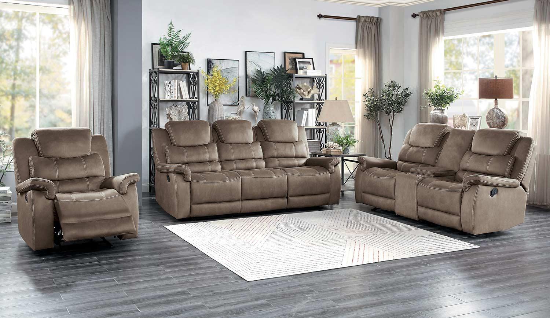 Homelegance Shola Power Reclining Sofa Set - Brown