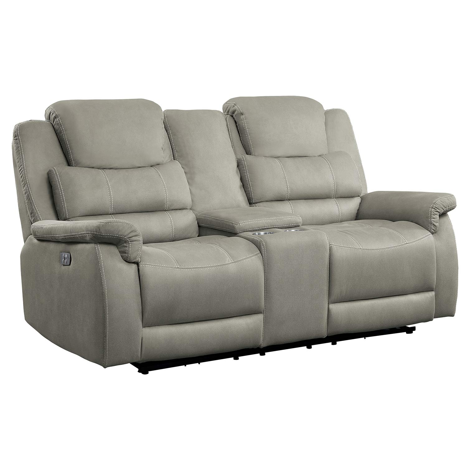 Homelegance Shola Double Glider Reclining Love Seat with Center Console - Gray