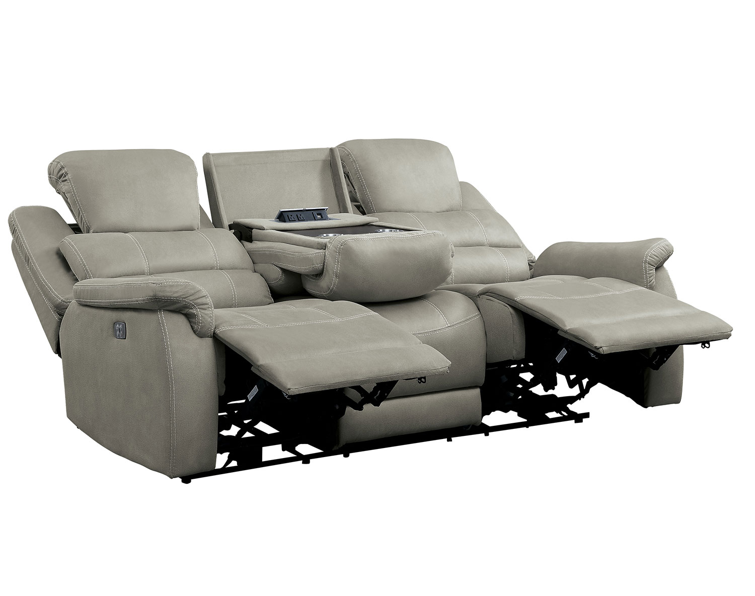 Homelegance Shola Power Double Reclining Sofa with Power Headrests, Drop-Down Cup holders and Receptacles - Gray