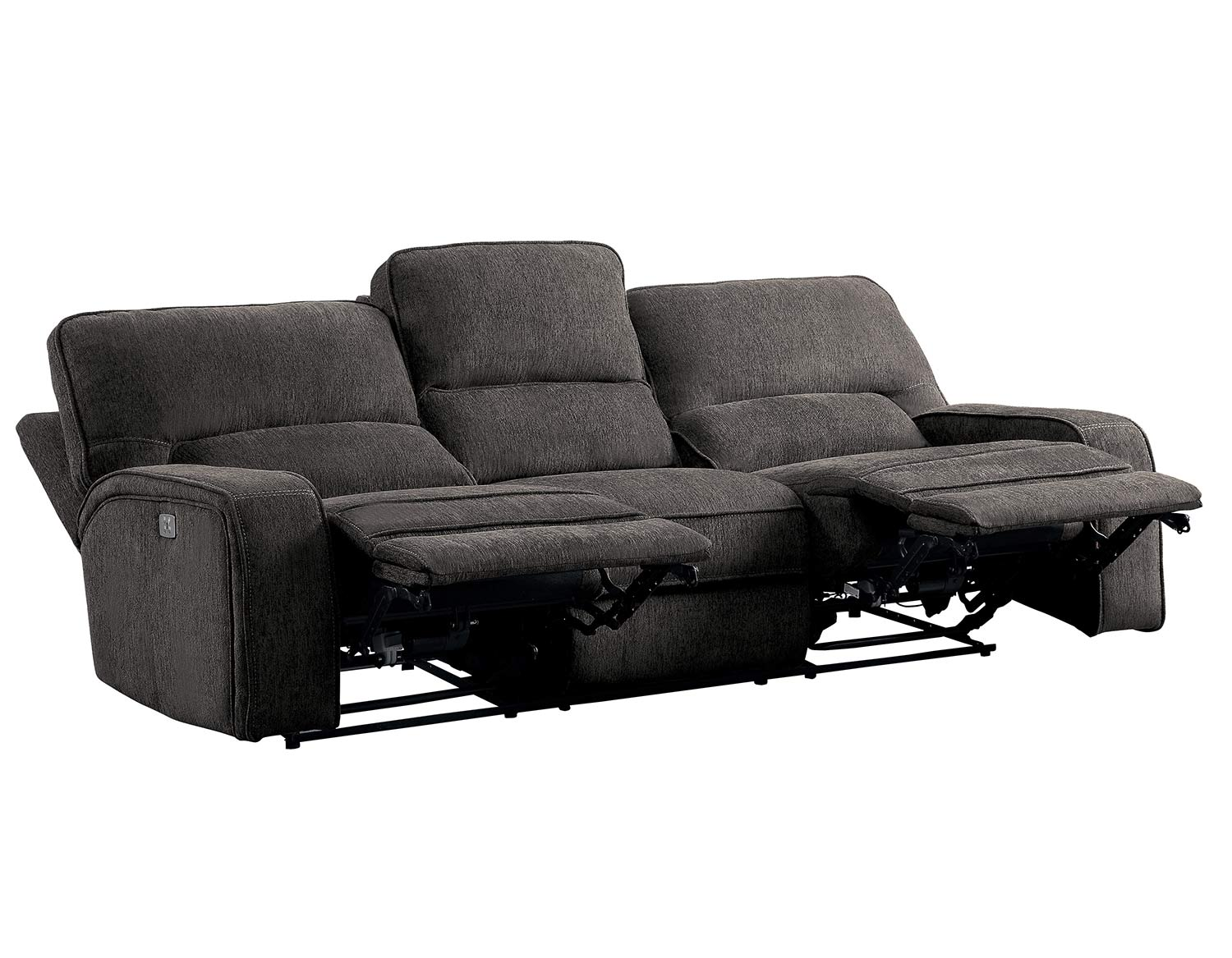 Homelegance Borneo Power Double Reclining Sofa with Power Headrest - Chocolate