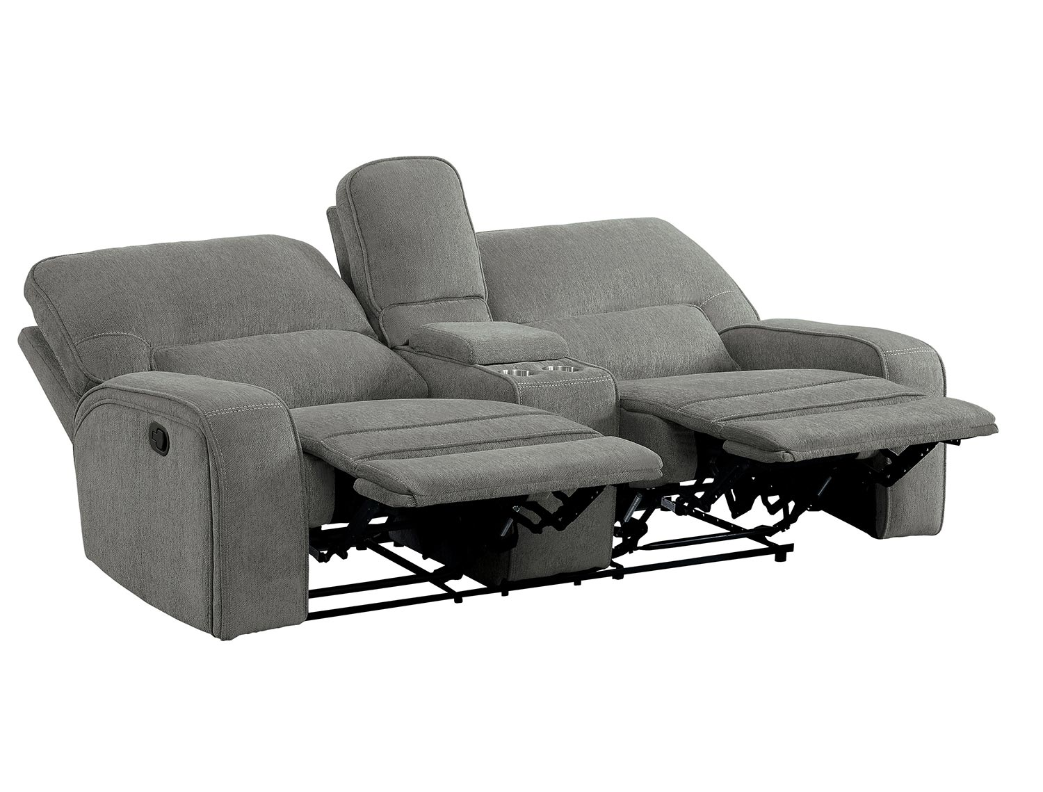 Homelegance Borneo Power Double Reclining Love Seat with Center Console and Power Headrests - Mocha
