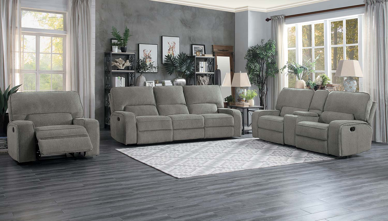 Homelegance Borneo Reclining Sofa Set - Mocha