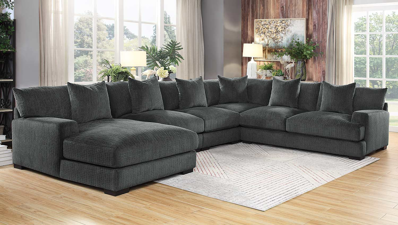 Homelegance Worchester Sectional Sofa Set - Dark gray