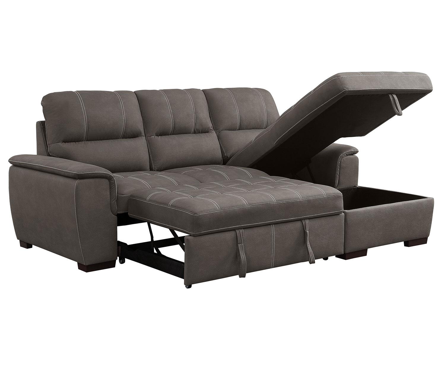 Homelegance Andes Sectional with Pull-out Bed and Hidden Storage - Taupe