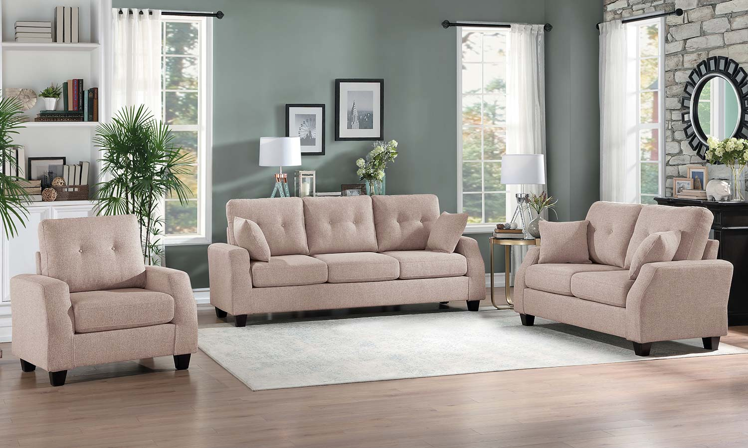 Homelegance Vossel Sofa Set - Sand