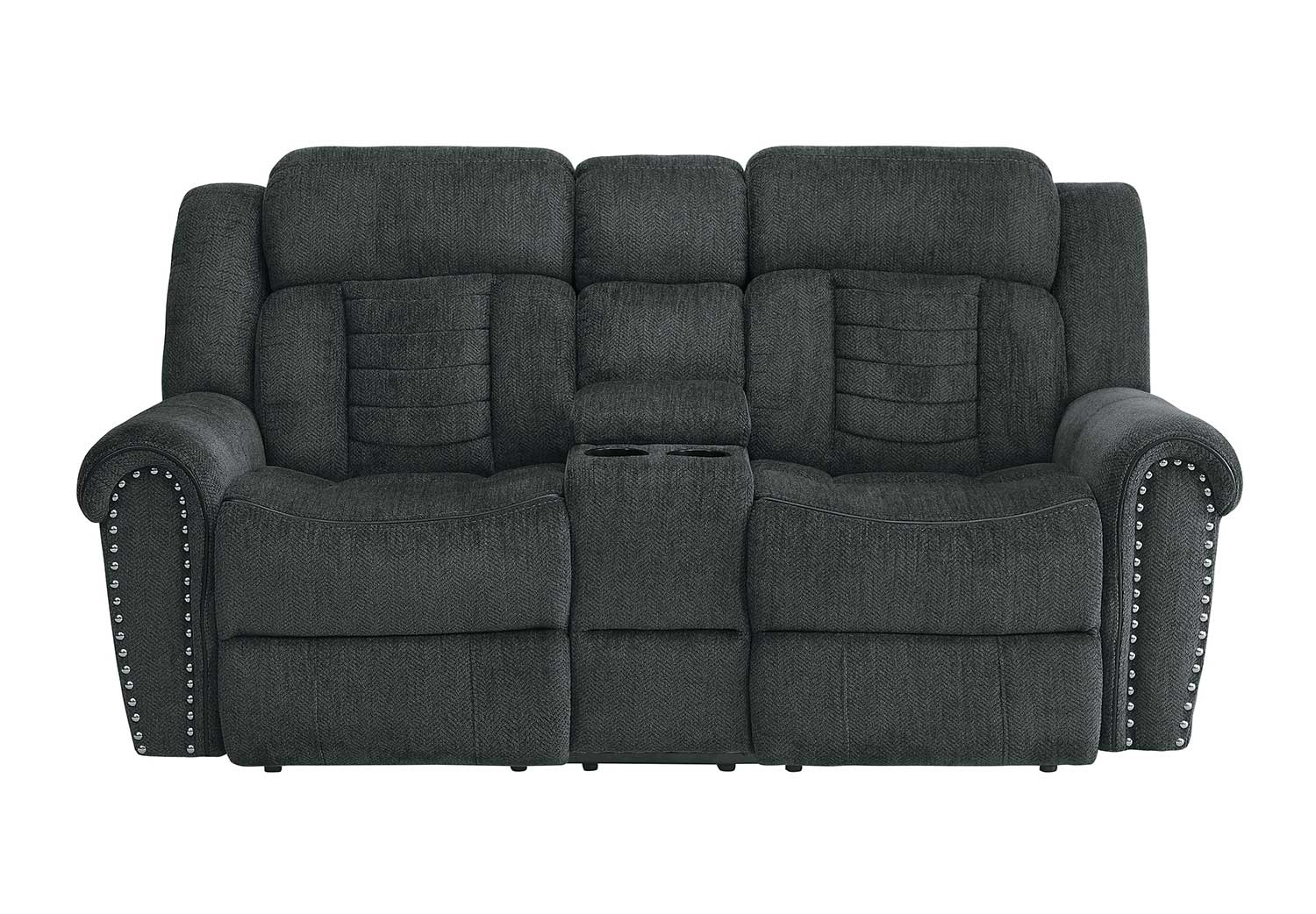 Homelegance Nutmeg Double Reclining Love Seat With Center Console - Charcoal Gray