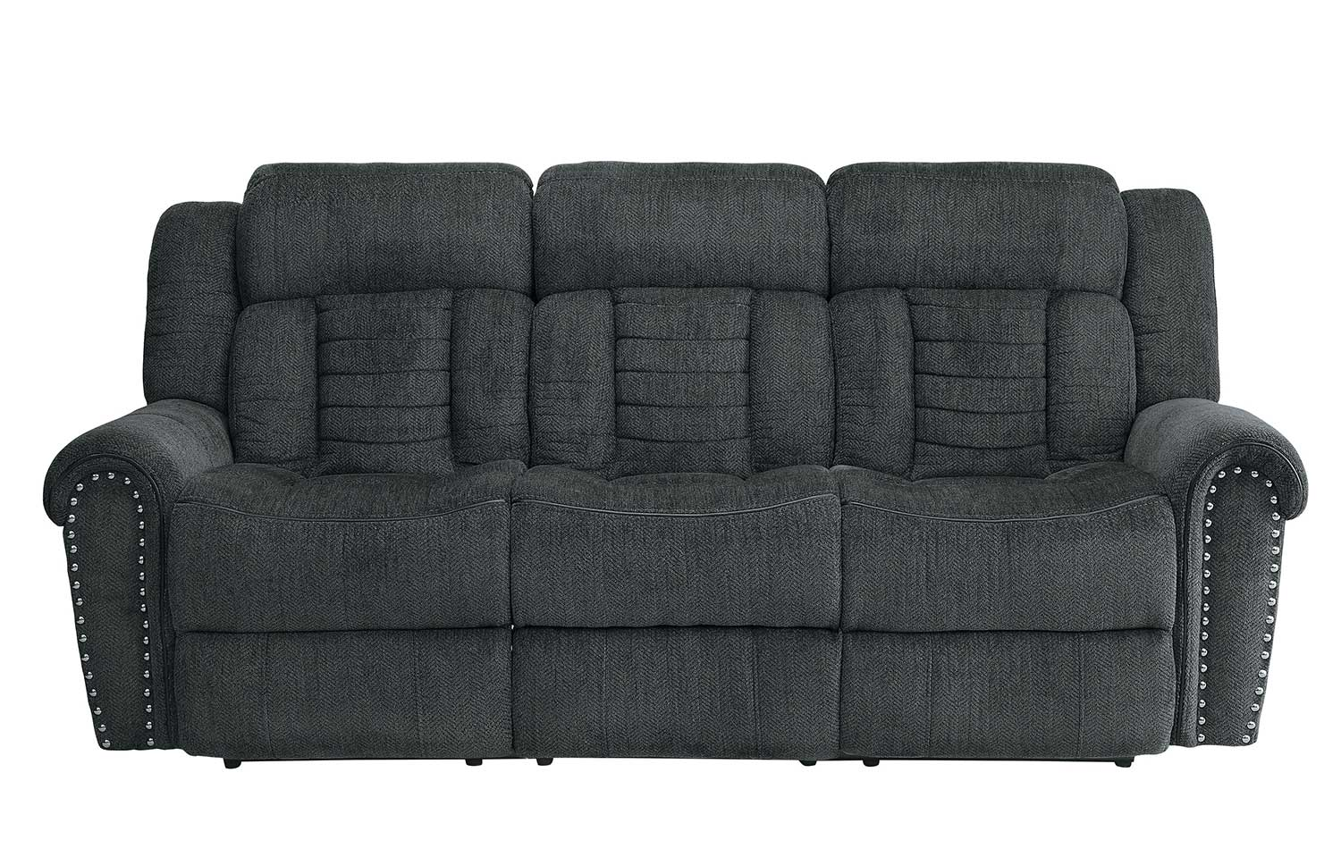 Homelegance Nutmeg Double Reclining Sofa - Charcoal Gray