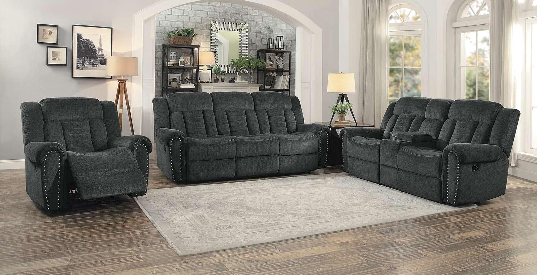 Homelegance Nutmeg Reclining Sofa Set   Charcoal Gray