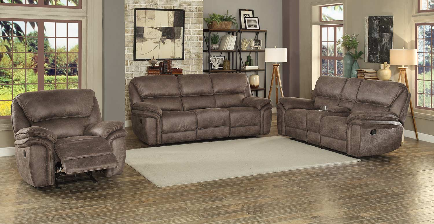 Homelegance Hadden Power Reclining Sofa Set - Dark Brown