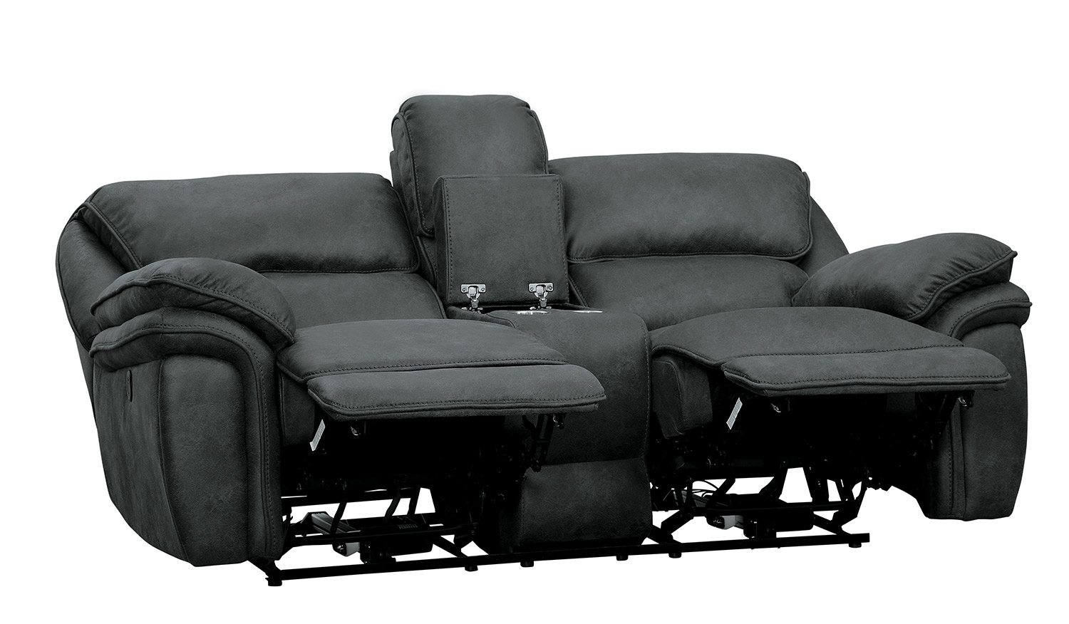 Homelegance Hadden Power Double Reclining Love Seat With Center Console - Gray