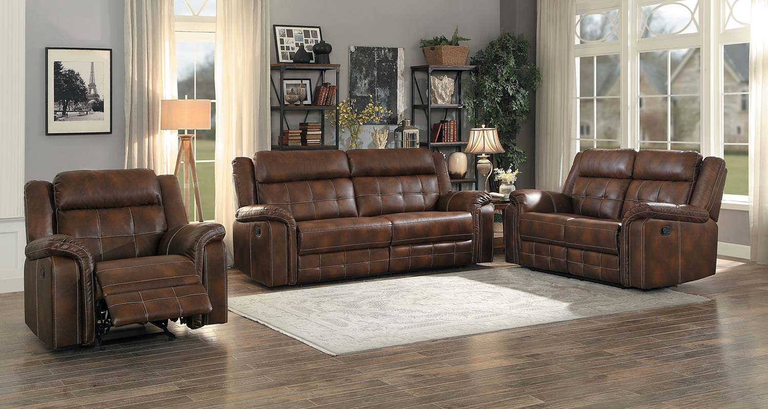 Homelegance Keridge Reclining Sofa Set - Brown