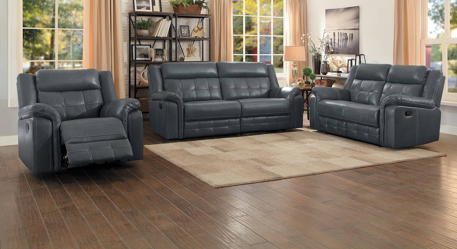 Homelegance Keridge Double Reclining Sofa Set - Gray AireHyde