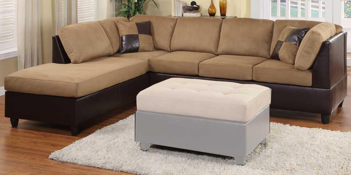 Homelegance comfort living reversible sectional brown for Comfort living furniture