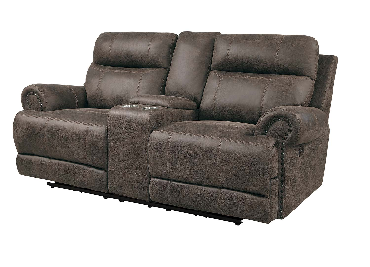 Homelegance Aggiano Power Double Reclining Love Seat With Power Headrests - Dark Brown