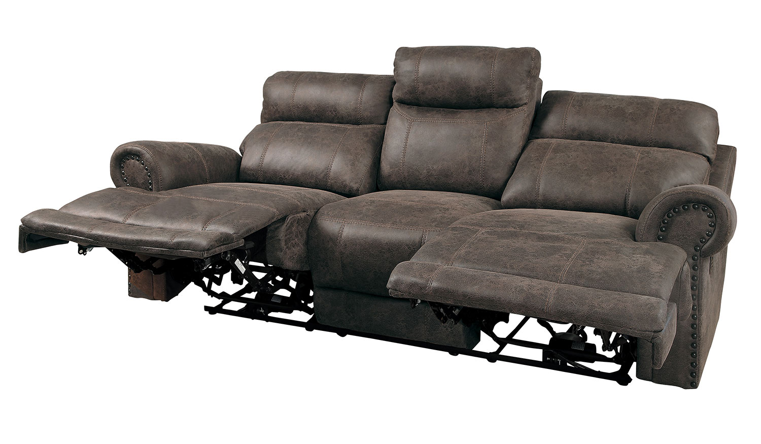 Homelegance Aggiano Double Reclining Sofa - Dark Brown