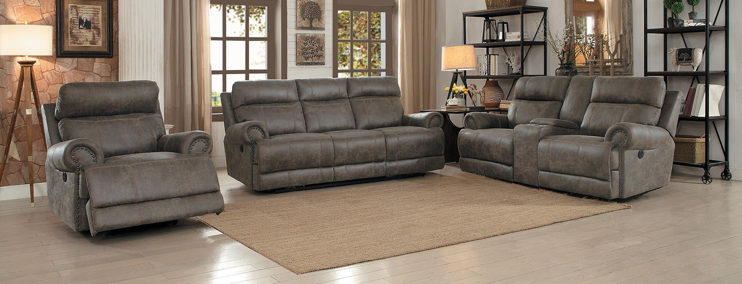 Homelegance Aggiano Reclining Sofa Set - Dark Brown
