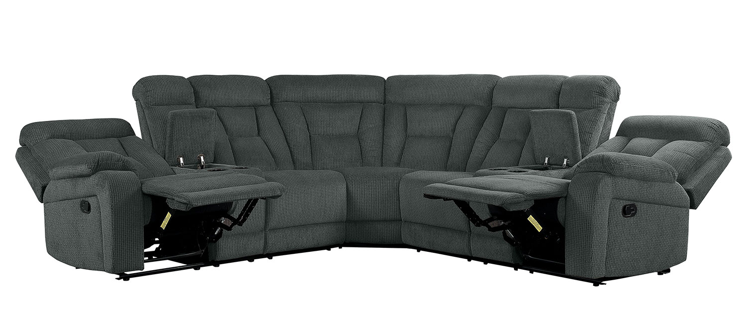 Homelegance Rosnay Reclining Sectional Sofa Gray 9914