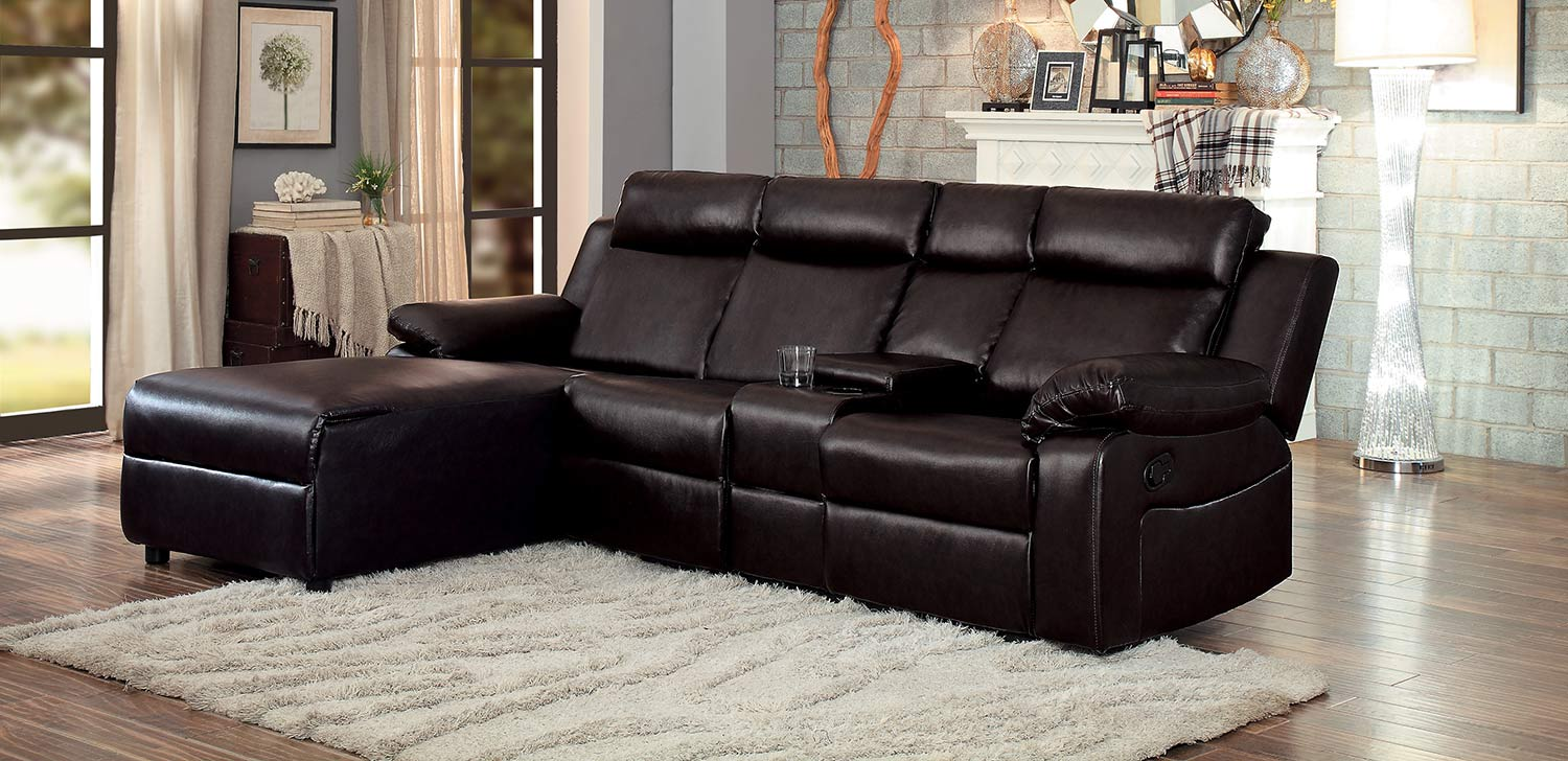 Homelegance Dalal Reclining Sectional Sofa - Dark Brown - Dark brown bi-cast vinyl