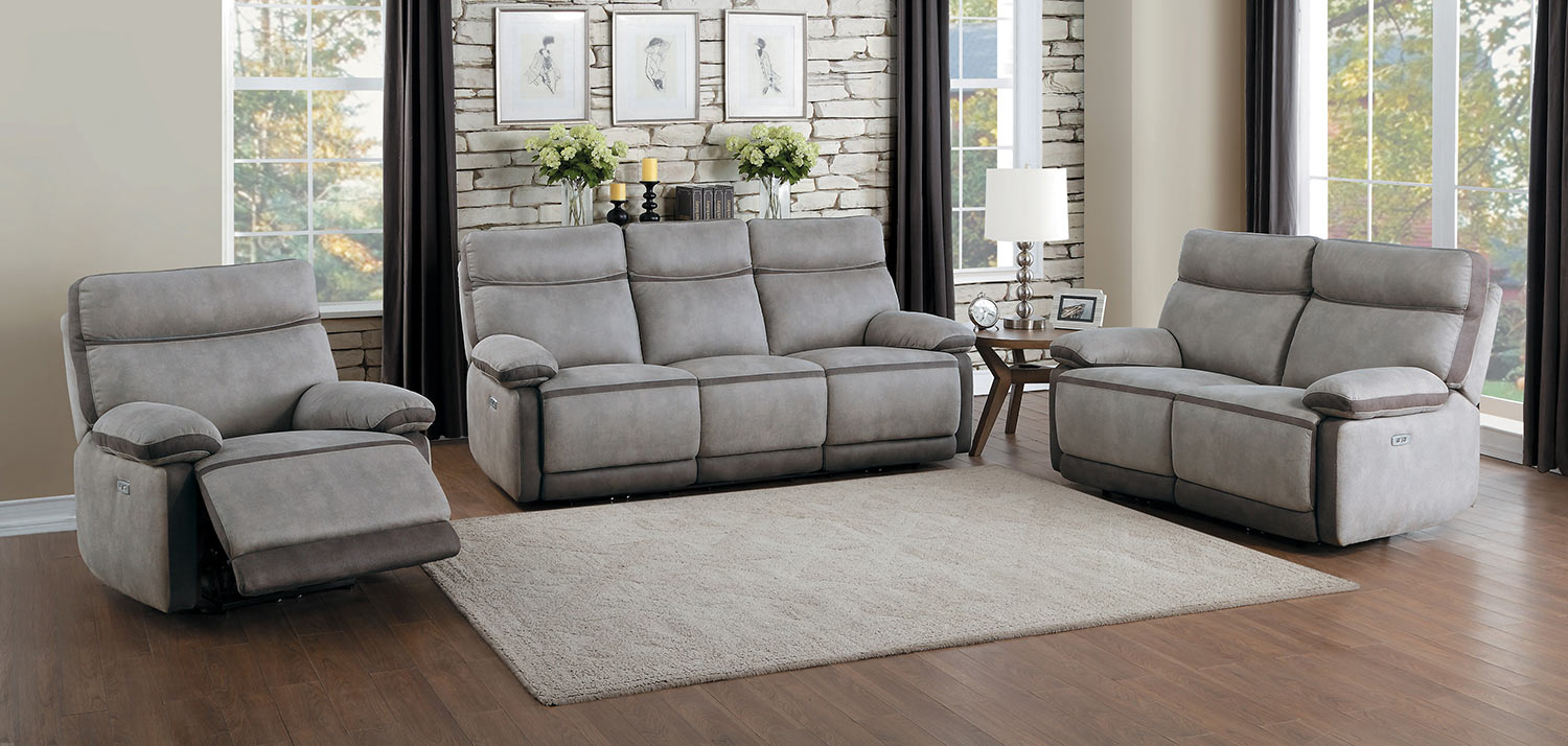 Homelegance Barilotto Power Reclining Sofa Set - Gray