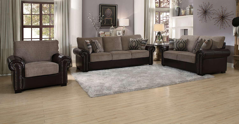 Homelegance Boykin Sofa Set - Brown Chenille