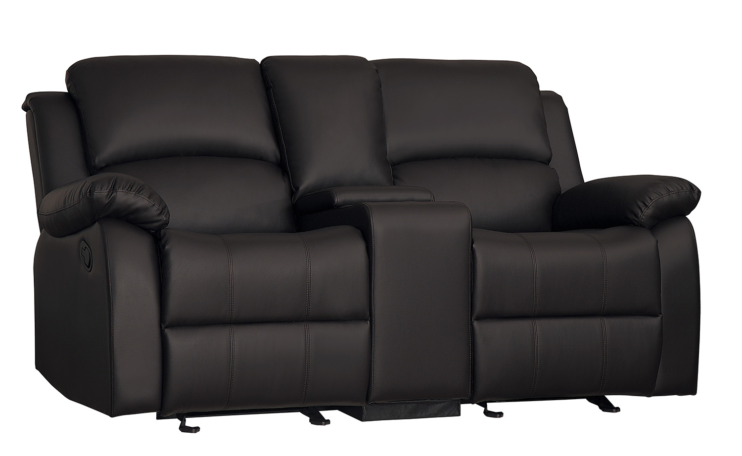 Homelegance Clarkdale Double Glider Reclining Love Seat With Center Console - Dark Brown - Dark brown bi-cast vinyl