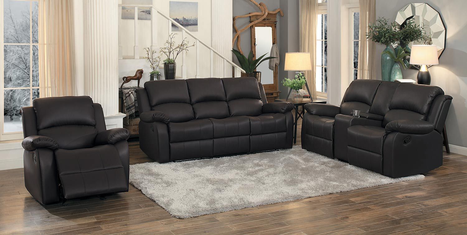 Homelegance Clarkdale Double Reclining Sofa Set - Dark Brown - Dark brown bi-cast vinyl