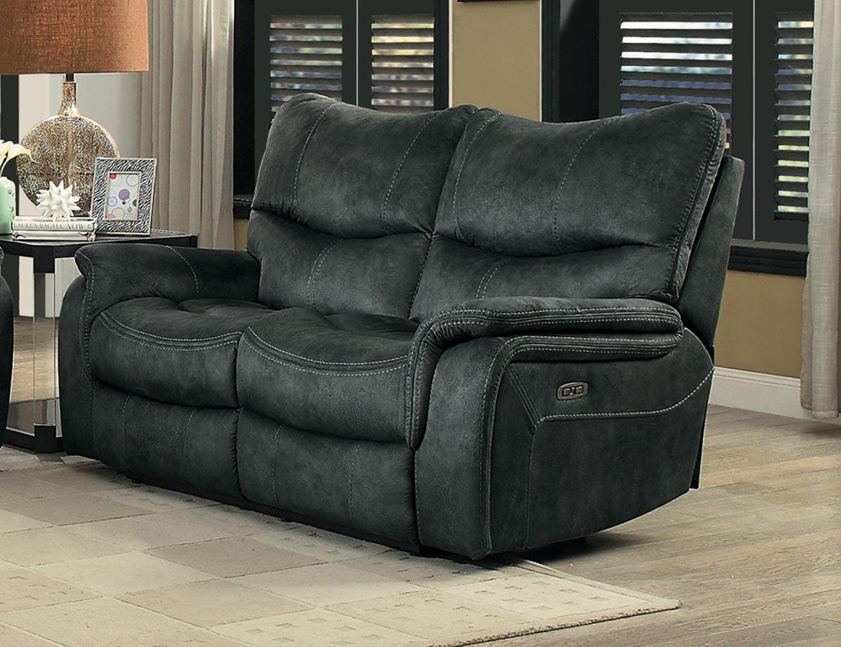 Homelegance Goby Power Double Reclining Love Seat With Power Headrests - Dark Gray