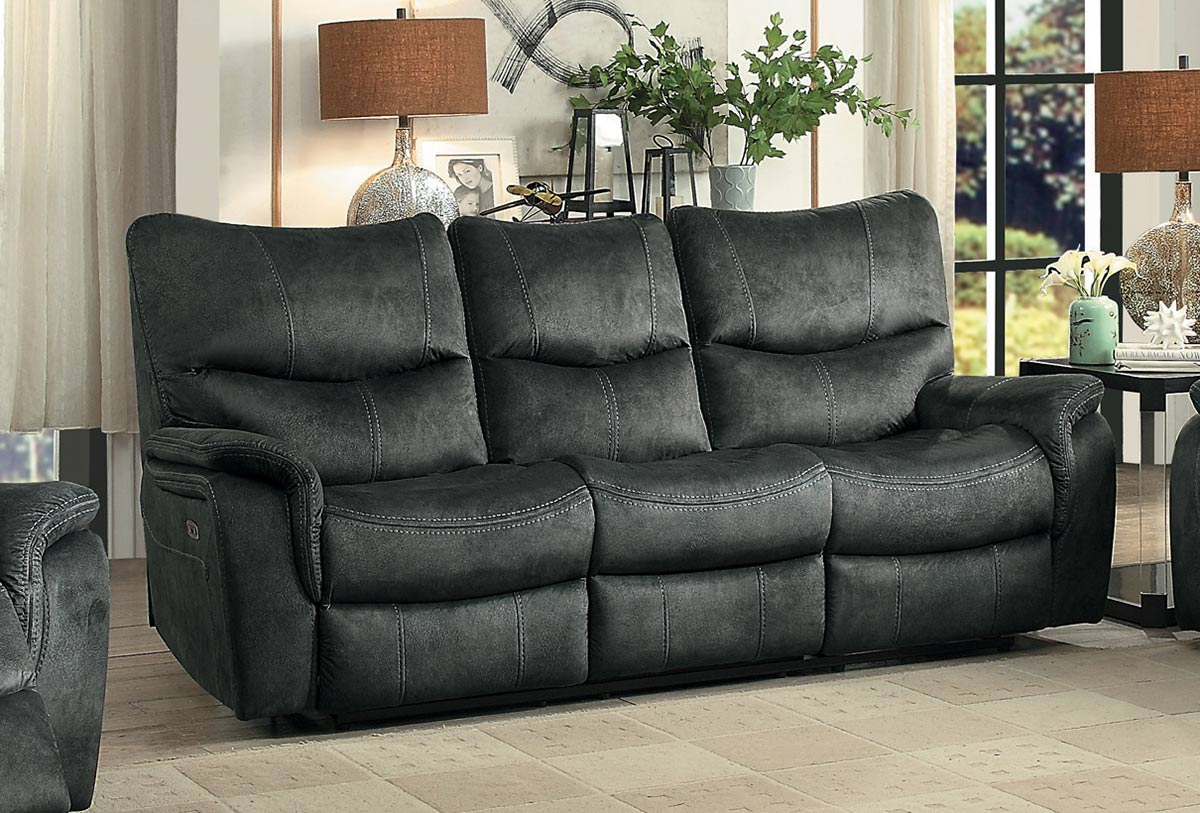 Homelegance Goby Power Double Reclining Sofa With Power Headrests   Dark  Gray