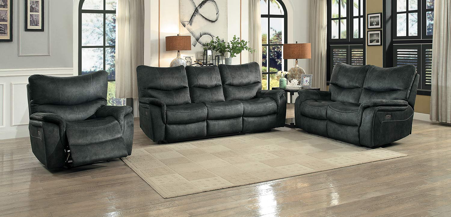 Homelegance Goby Power Reclining Sofa Set - Dark Gray