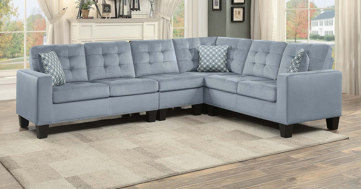 Homelegance Lantana Reversible Sectional - Chocolate and Gray