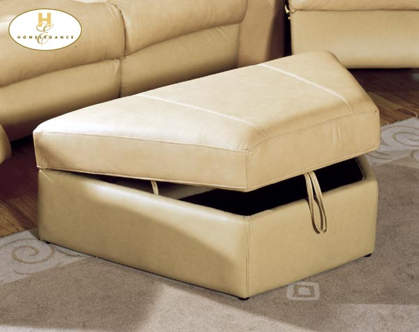 Homelegance Camel Ottoman with Storage Camel Leather Match
