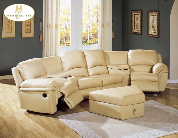 Homelegance Camel Home Theater Unit Camel Leather Match