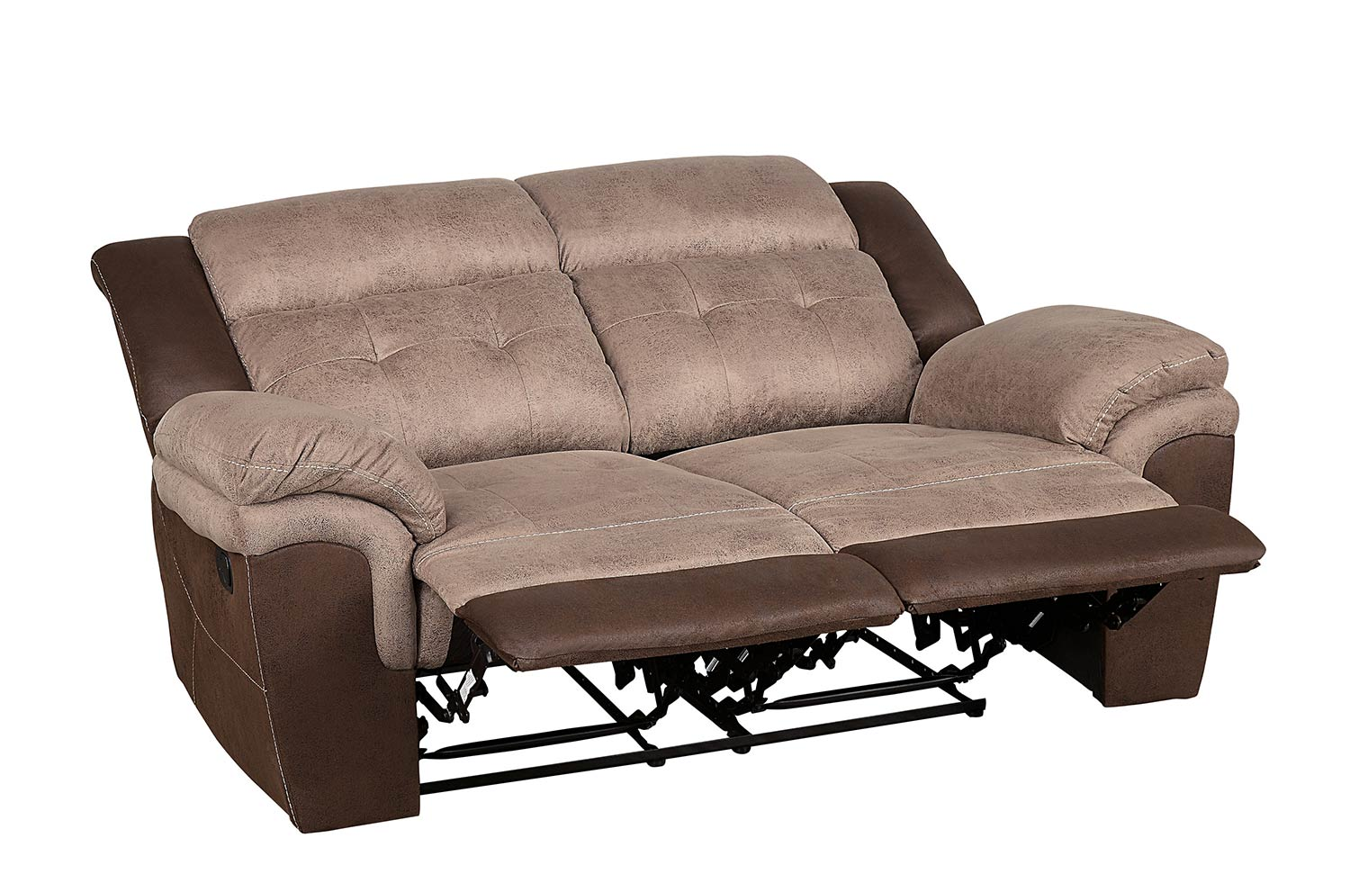 Homelegance Chai Double Reclining Love Sea - Brown and dark brown polished microfiber