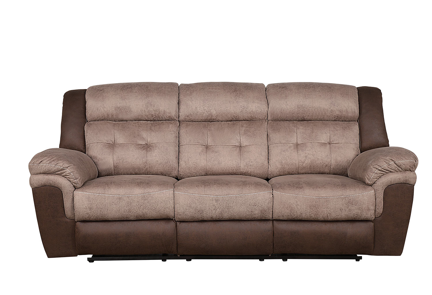 Homelegance Chai Double Reclining Sofa - Brown and dark brown polished microfiber