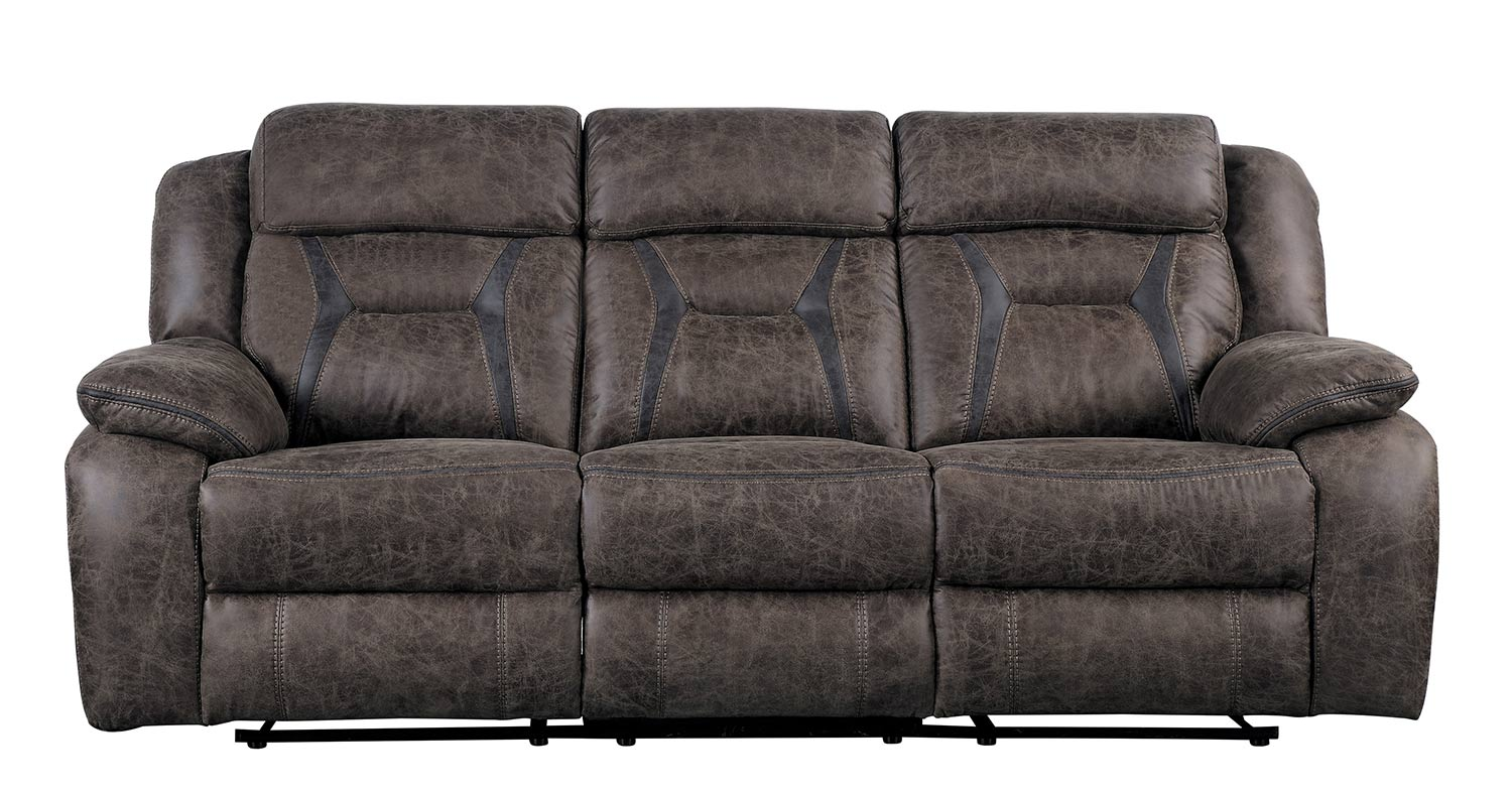 Homelegance Madrona Double Reclining Sofa - Dark brown polished microfiber