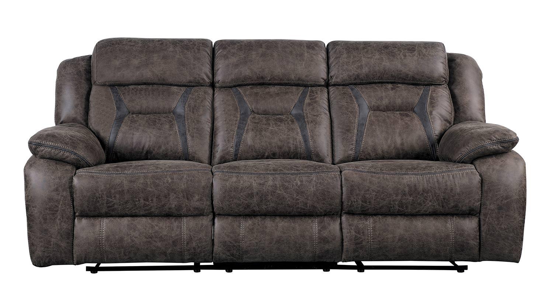 Homelegance Madrona Double Reclining Sofa - Dark brown polished microfiber