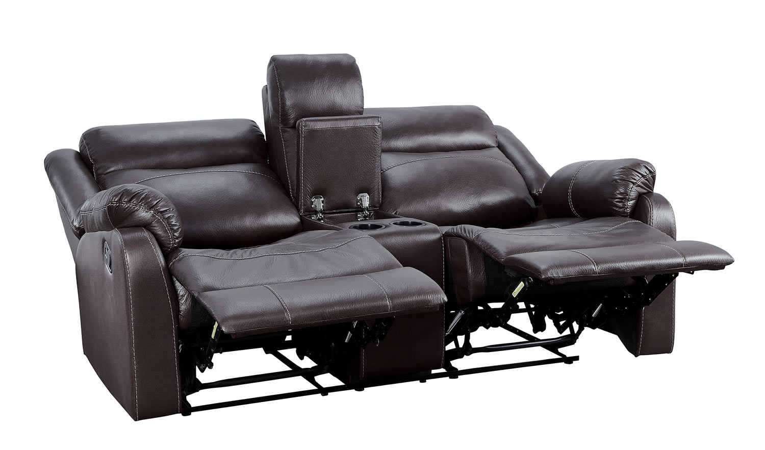 Homelegance Yerba Double Lay Flat Reclining Love Seat With Center Console - Dark Brown