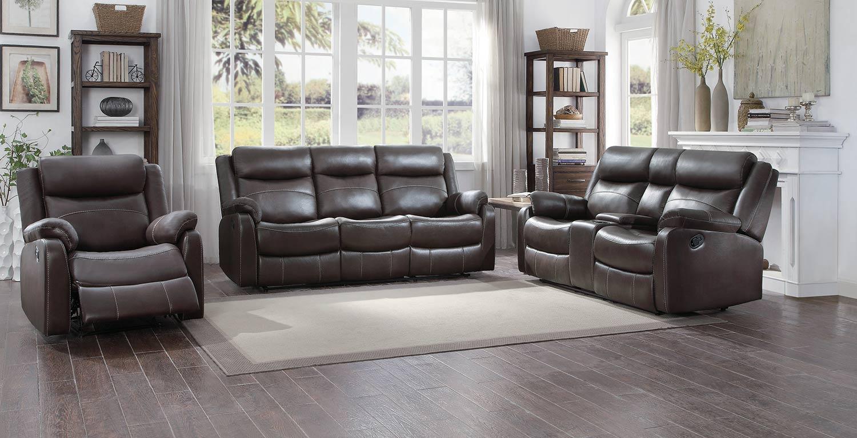 Homelegance Yerba Reclining Sofa Set - Dark Brown