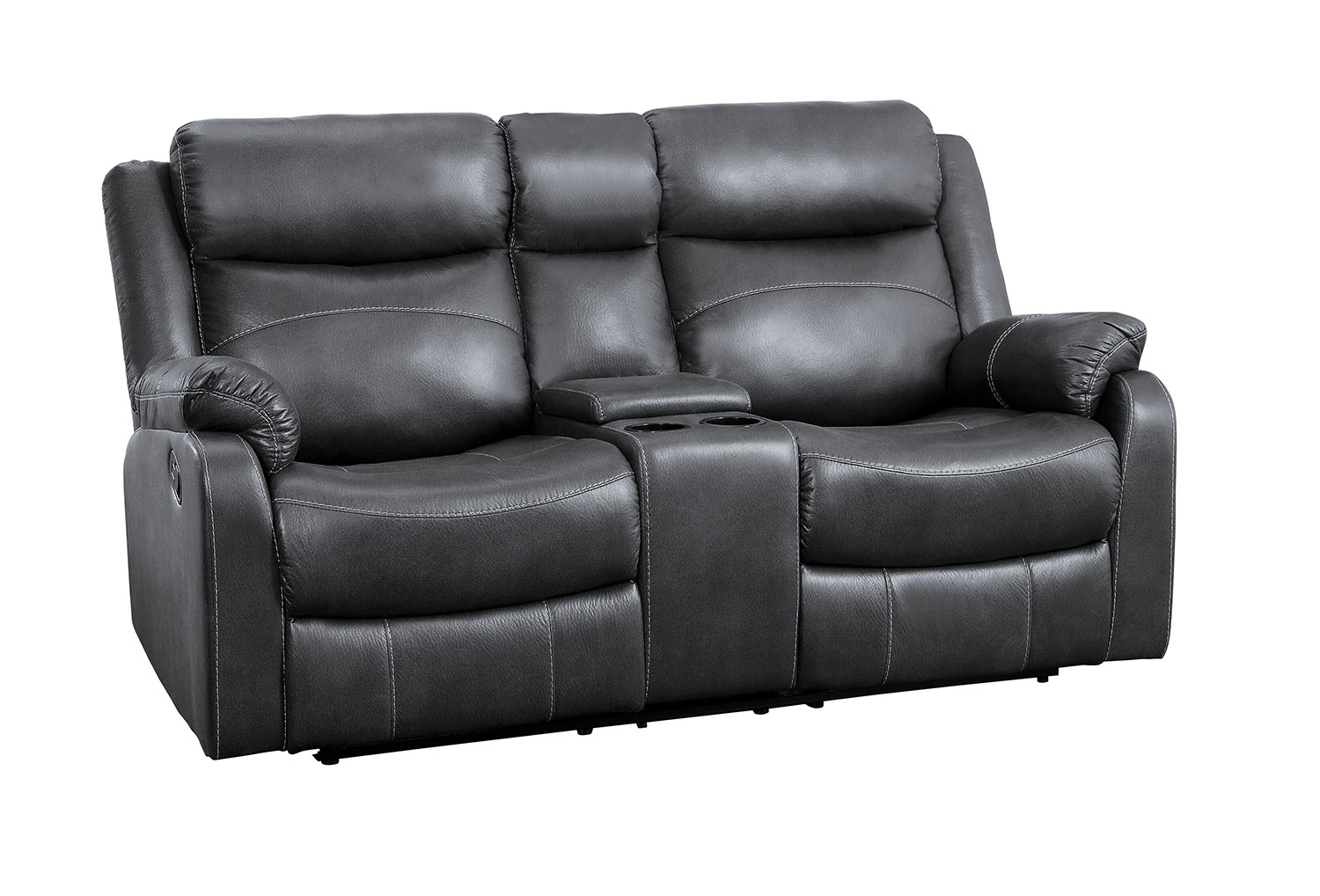 Homelegance Yerba Double Lay Flat Reclining Love Seat With Center Console - Dark Gray