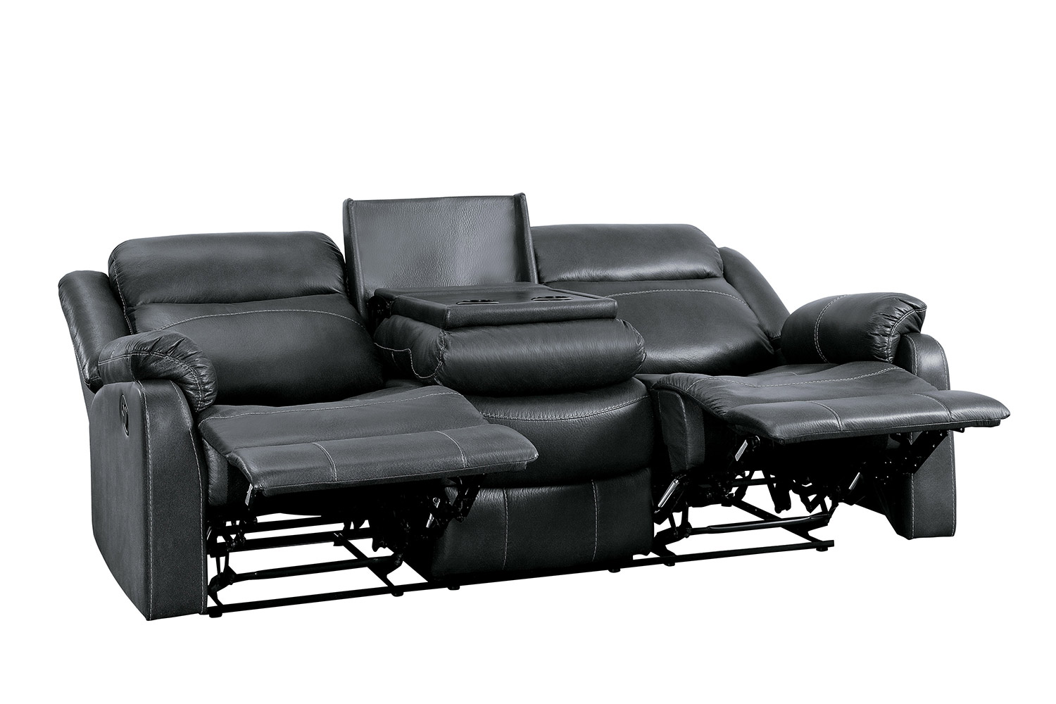 Homelegance Yerba Double Lay Flat Reclining Sofa With Center Drop-Down Cup Holders - Dark Gray
