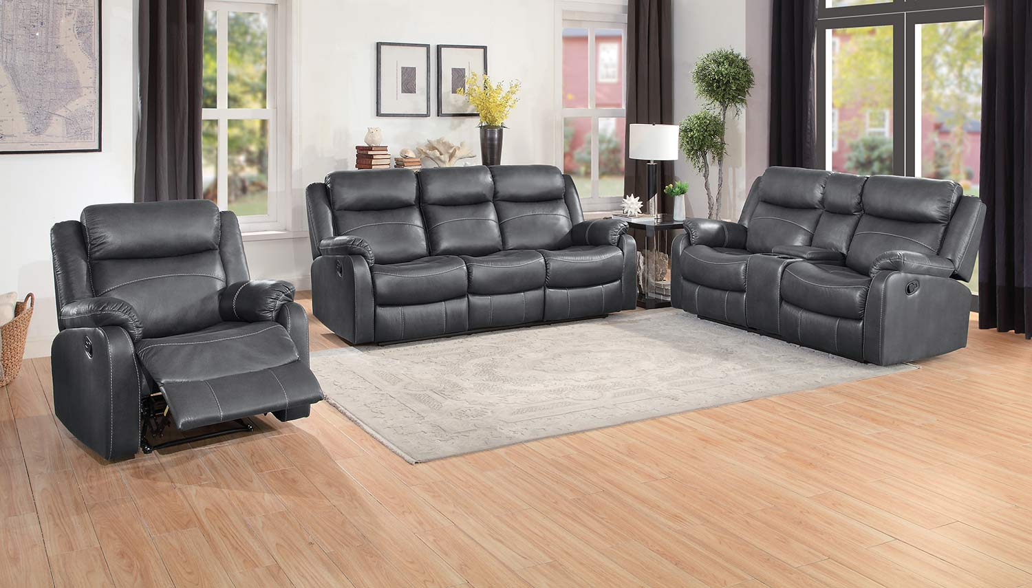 Homelegance Yerba Double Reclining Sofa Set - Dark Gray
