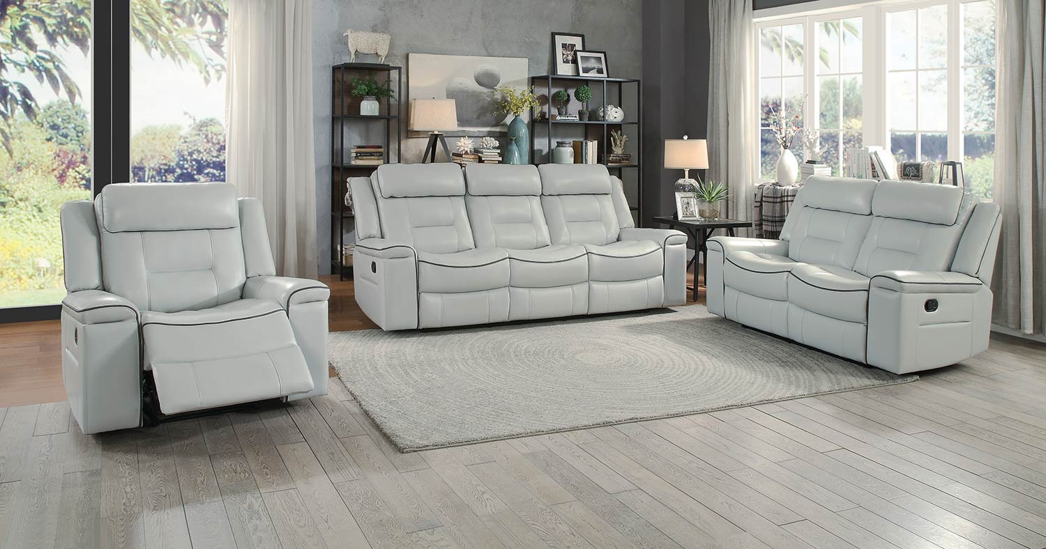 Homelegance Darwan Double Reclining Sofa Set Light Gray