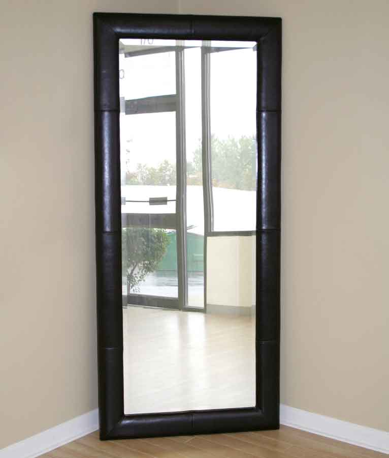 Wholesale Interiors A-61-1 Floor Mirror - Black BiCast Leather