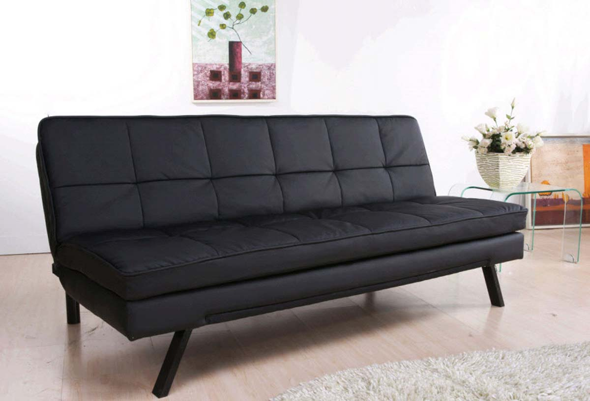 Abbyson living newport double cushion leather convertible for Double leather sofa