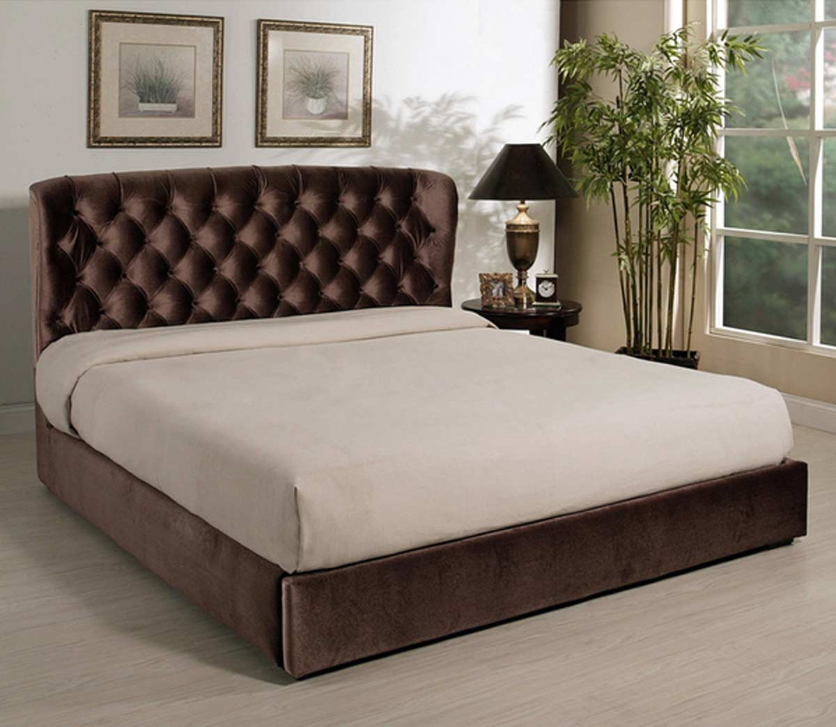 Abbyson Living Presidio Chocolate Tufted Upholstered Bed