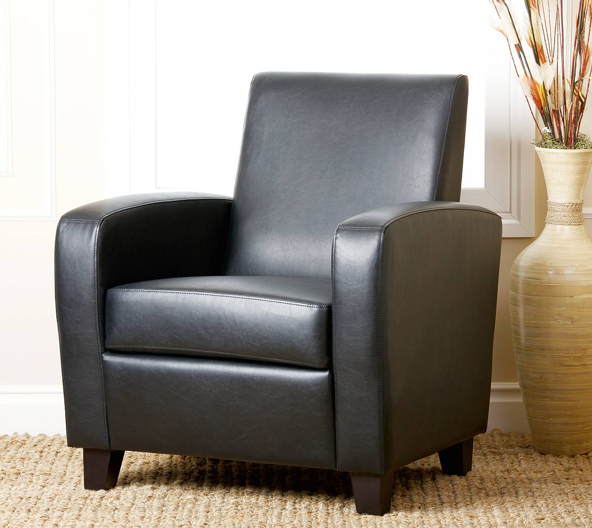 Abbyson Living Mercer Bonded Leather Club Chair - Black