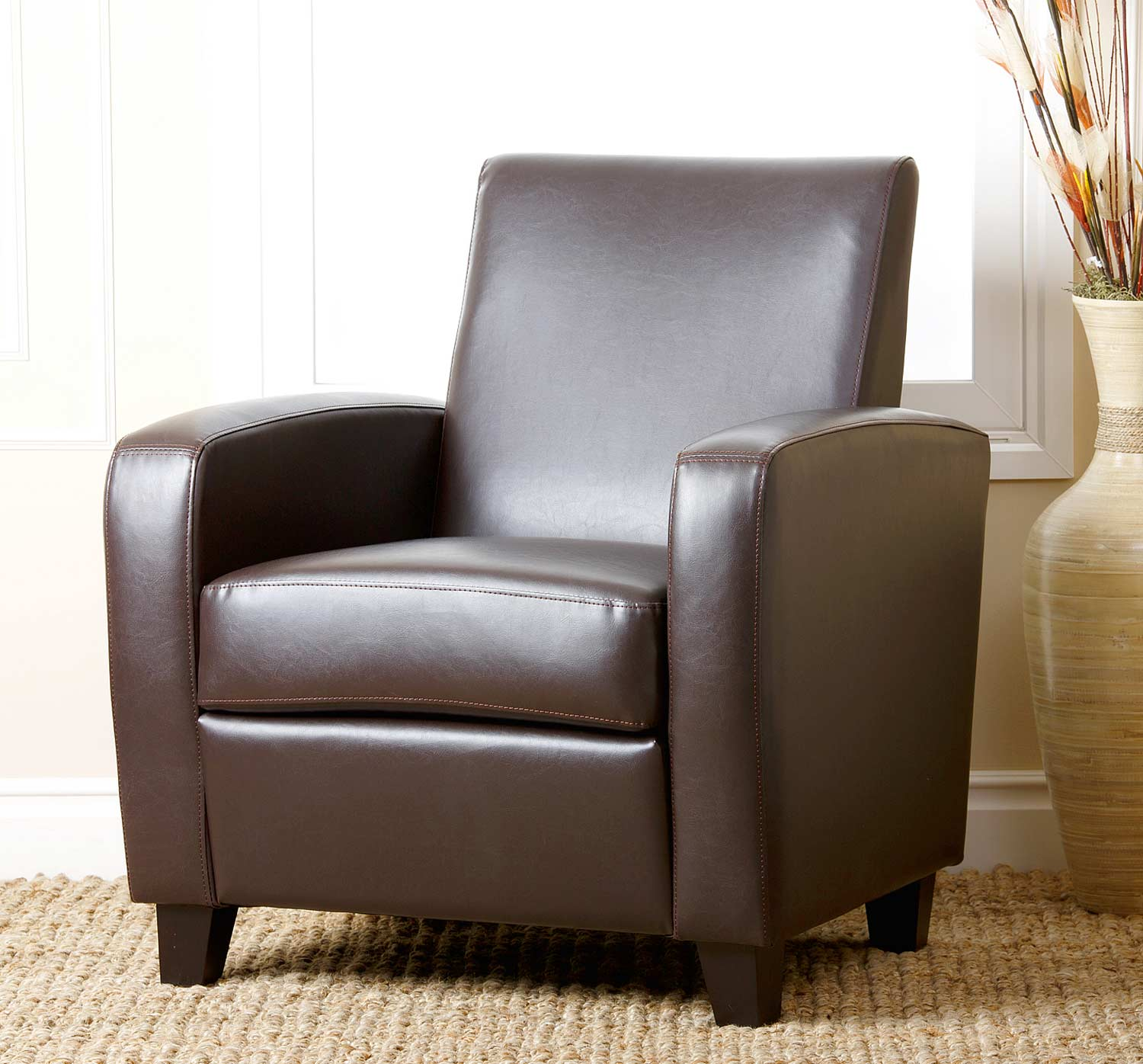 Abbyson Living Mercer Bonded Leather Club Chair - Brown