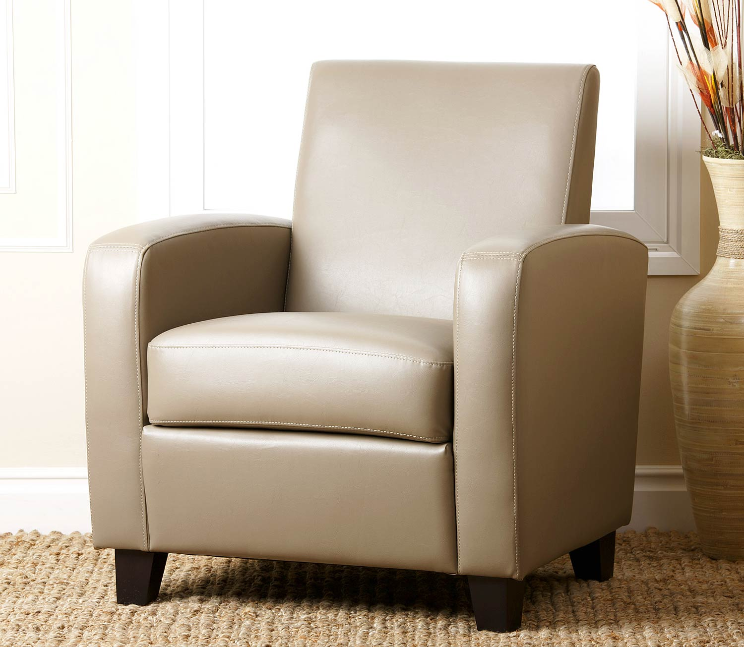 Abbyson Living Mercer Bonded Leather Club Chair - Grey